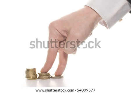 Hand and money staircase, isolated on white background - stock photo