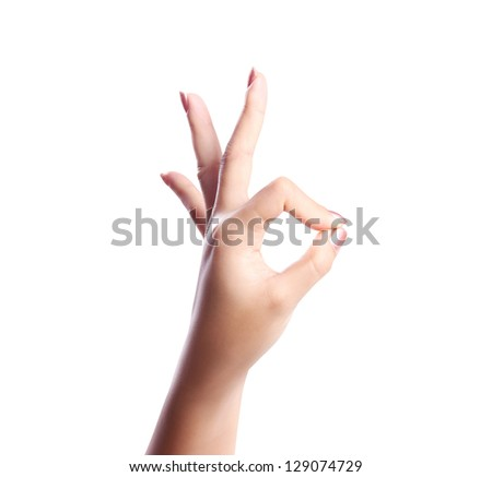Hand and OK isolated on white Background - stock photo