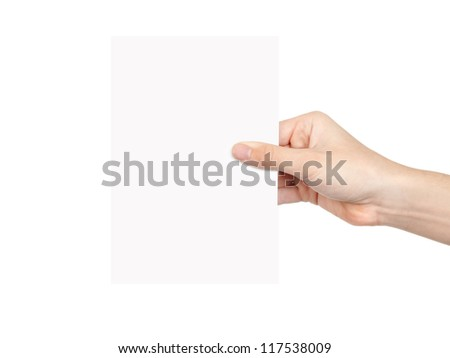 Hand and paper isolated on white