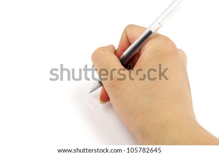 Hand and pen - stock photo