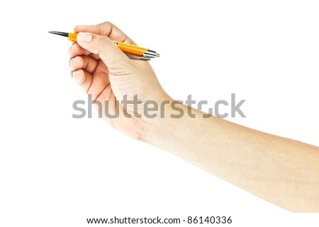 hand and pen on white background