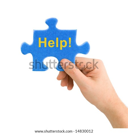 Hand and puzzle Help isolated on white background - stock photo