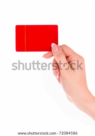 Hand and red card isolated on white - stock photo
