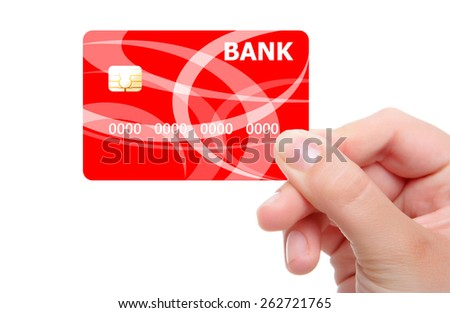 Hand and red card isolated on white background - stock photo