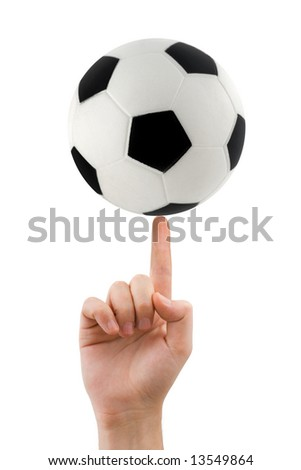 Hand and spinning soccer ball isolated on white background - stock photo