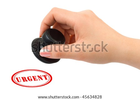 Hand and stamp Urgent isolated on white background - stock photo