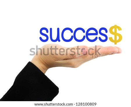 """Hand and """"success""""word isolated on white - stock photo"""