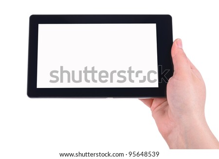 Hand and Tablet PC. Photos on white background - stock photo
