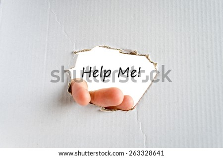 Hand and text on the cardboard background and concept text - stock photo