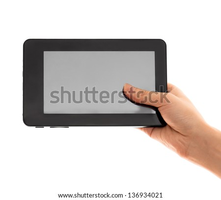 hand and touch pad white background