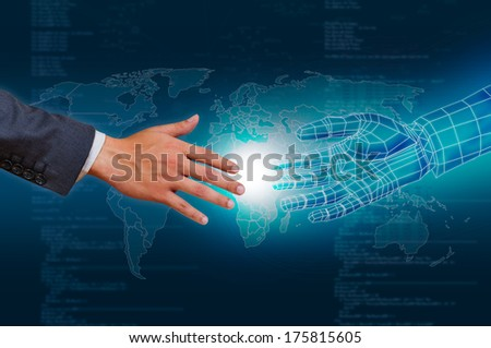 hand and virtual hand touching ,concept of global connection - stock photo