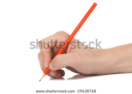 hand and wood pencil on white - stock photo