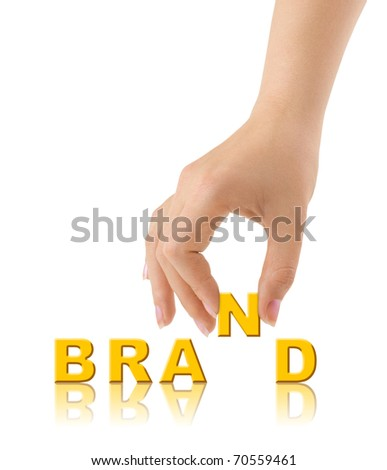 Hand and word Brand isolated on white background