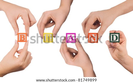 Hand and word Brand isolated on white background - stock photo