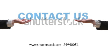 Hand and word - business concept (isolated on white background) - stock photo