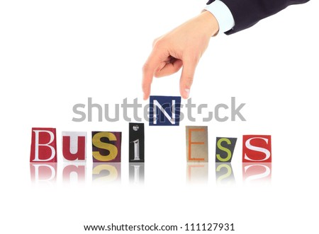 Hand and word Business isolated on white background - stock photo