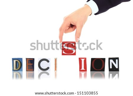 Hand and word Decision isolated on white background  - stock photo