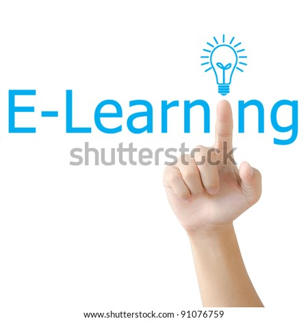 Hand and word e-learning. - business concept isolated on white background