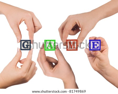 Hand and word Game isolated on white background - stock photo