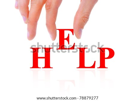 Hand and word help - stock photo