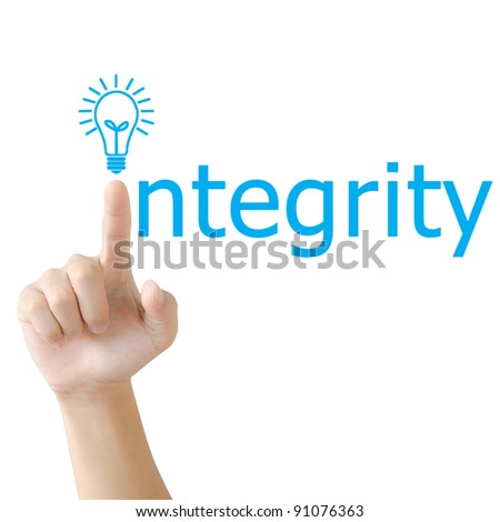 Hand and word integrity. - business concept isolated on white background - stock photo