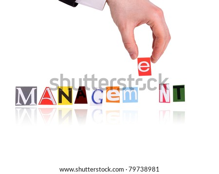 Hand and word management isolated on white background - stock photo
