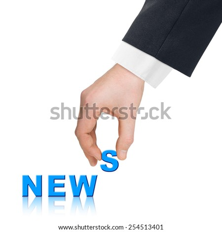 Hand and word News - communication concept, isolated on white background - stock photo