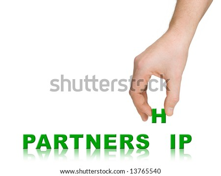 Hand and word Partnership, business concept, isolated on white background - stock photo