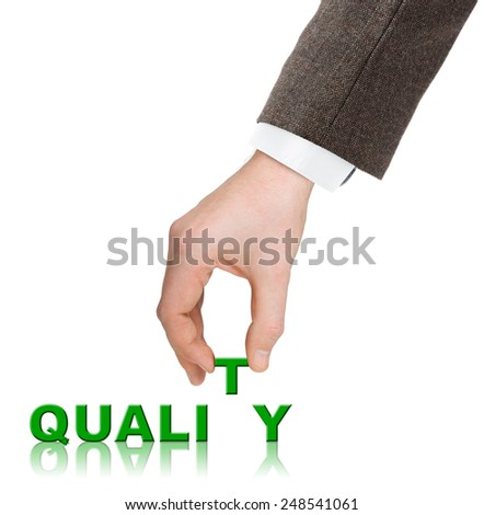 Hand and word Quality isolated on white background - stock photo