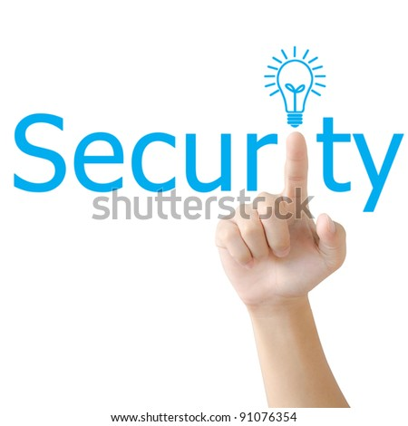 Hand and word security. - business concept isolated on white background
