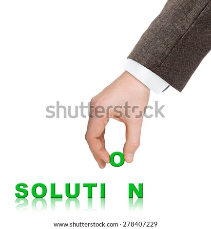 Hand and word Solution - business concept, isolated on white background - stock photo