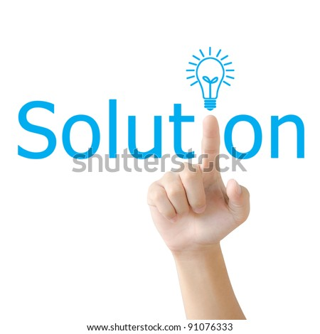 Hand and word solution. - business concept isolated on white background - stock photo
