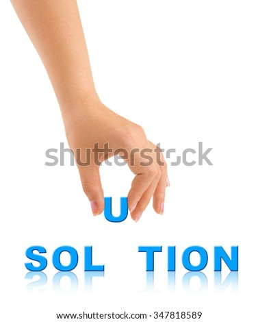 Hand and word Solution isolated on white background - stock photo