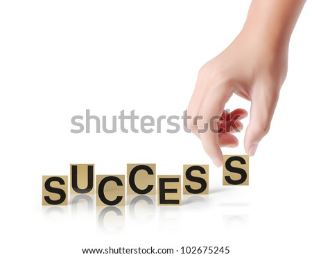 Hand and word Success isolated on a white background