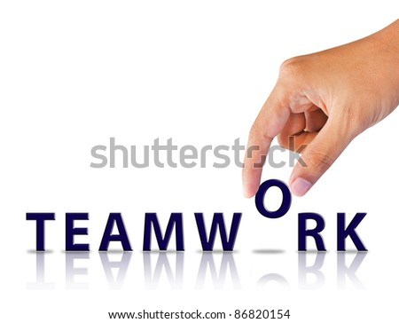 Hand and word teamwork - stock photo