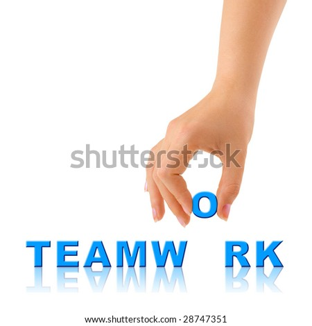 Hand and word Teamwork - business concept, isolated on white background - stock photo