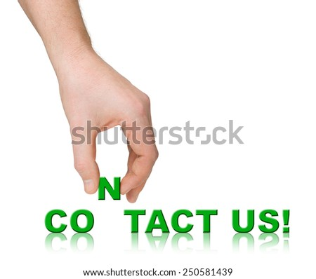 Hand and words Contact Us isolated on white background - stock photo