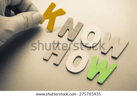 Hand arrange wood letters as Know How word - stock photo