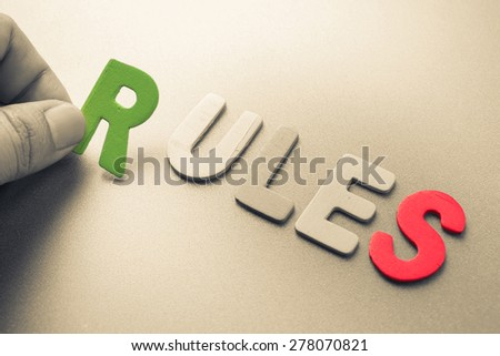 Hand arrange wood letters as Rules word