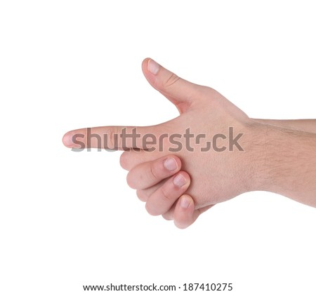 Hand as a gun. Isolated on a white background. - stock photo