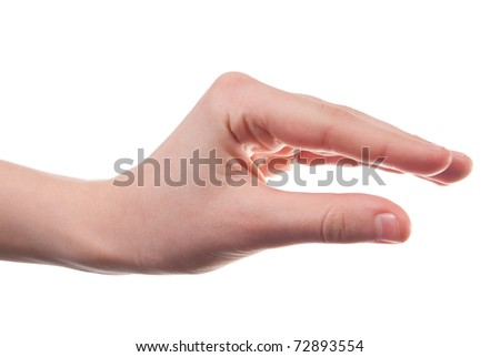 Hand as it holding something. Isolated on white