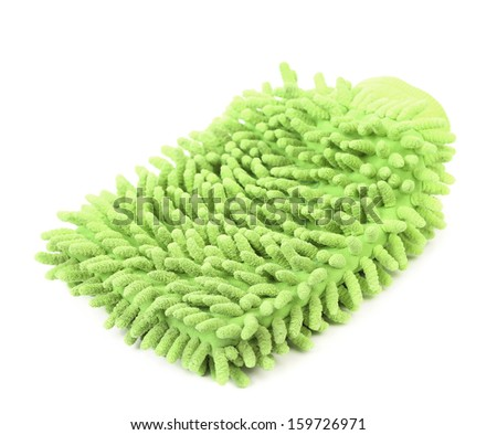 Hand bath sponge glove. Isolated. On a white background - stock photo