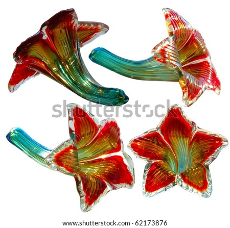 Hand blown glass flower and stem - stock photo