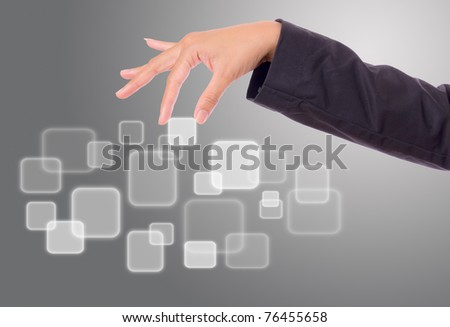 hand bring up button - stock photo