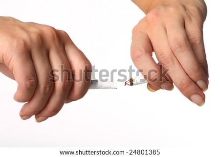 hand broke cigarette - stock photo