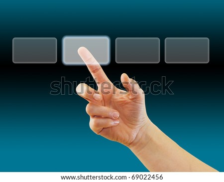 Hand browsing images in virtual space using touch screen interface - stock photo