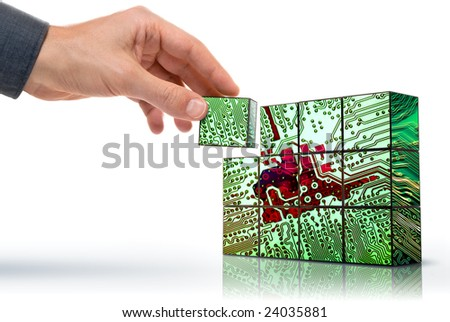 hand building up a conceptualized electronic circuit - stock photo