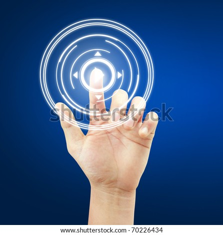 hand button - stock photo