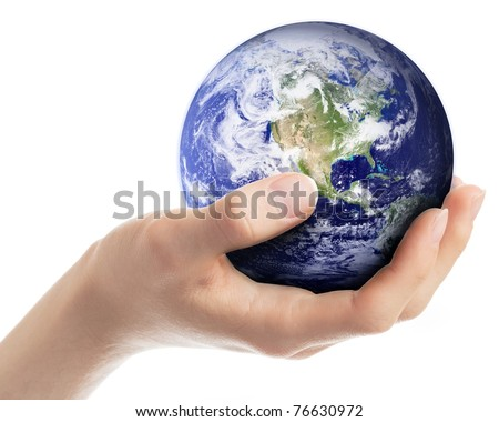 Hand carefully holding planet Earth. Earth globe image provided by NASA (http://visibleearth.nasa.gov) - stock photo