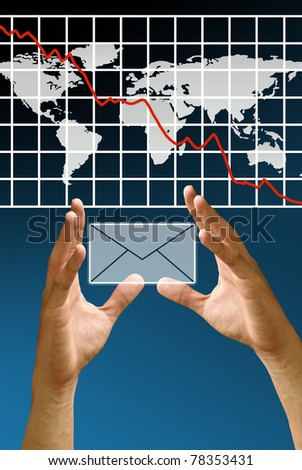 Hand carry mail icon with crisis of stock exchange graph, Financial Concept - stock photo